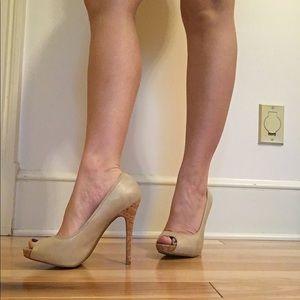 Nude & cork open-toes high heels